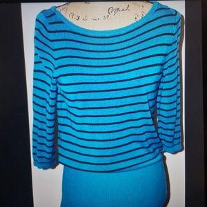 WHBM Turquoise / Black Stripes 3/4 Sleeve Sweater